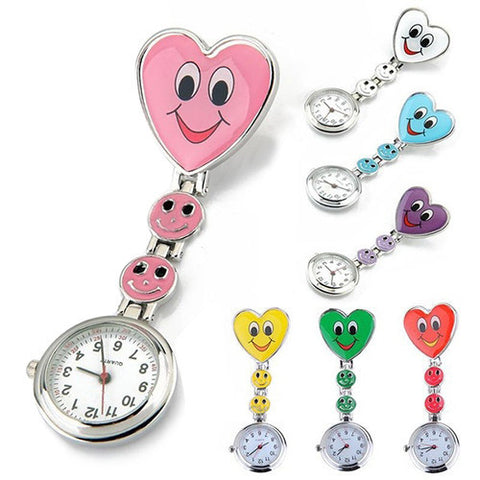 Cute Crystal Smiling Faces Heart Clip-On Pendant Nurse Fob Brooch Pocket Watch - East Gold