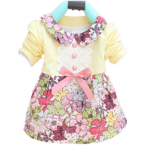 Floral Princess Dress Bowknot One Piece - East Gold