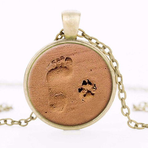 DOG LOVER NECKLACE Dog Paw Pendant Paw Print - East Gold