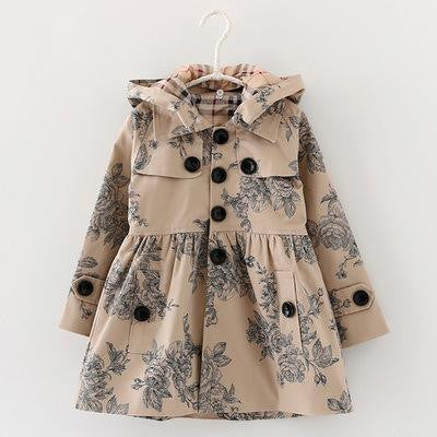Designer Trench  Floral Hoodied Coat - East Gold