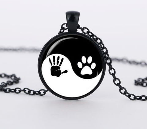 Dog lover necklace pendant dog paw print paw paw pendant jewellry and footprint for Dog Lover - East Gold
