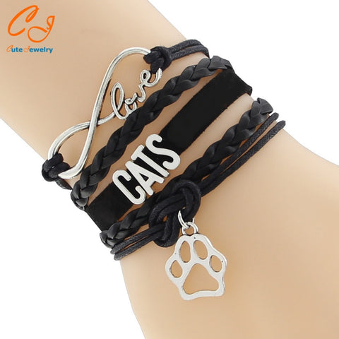 Infinity Love Cat Sole Bracelet- Best Puppy Lover Girl Gift Animal Paw Jewelry - East Gold