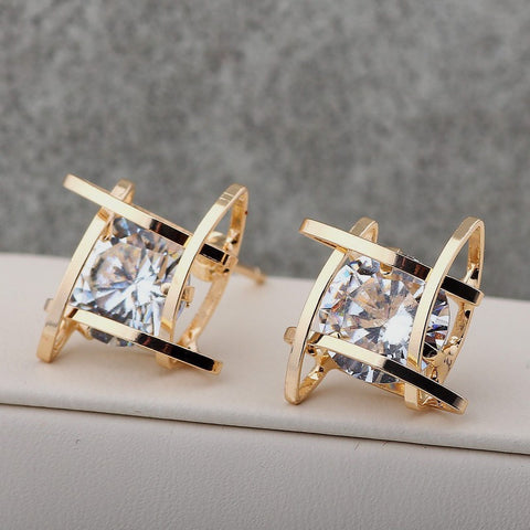 Elegant and Charming Black Rhinestone Full Crystals Square Stud Earrings   East Gold
