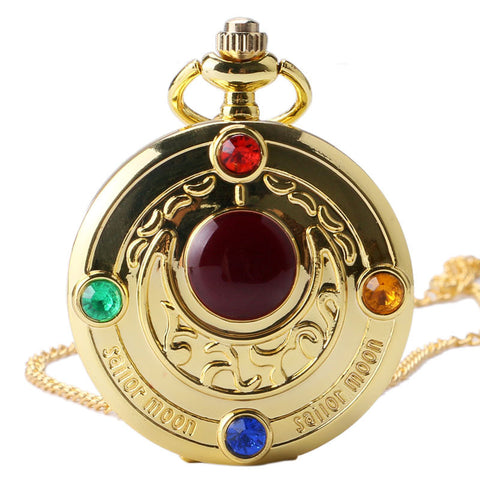 Colorful Anime Sailor Moon Series Gift Women Lady Girl Quartz Pocket Watch Necklace - East Gold
