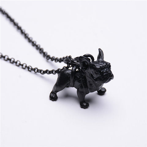Cute French Bulldog dog pendant Necklace - East Gold