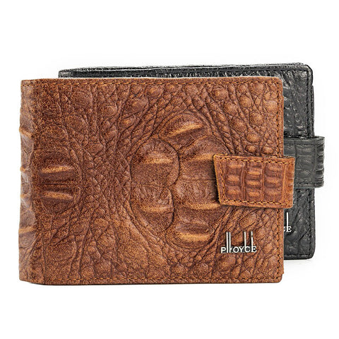 Alligator Grain Genuine Leather 3 Folds Coin Wallet - East Gold
