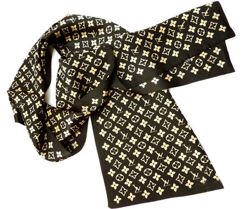 Designer Double Layer Luxury Silk Long Neckerchief - East Gold