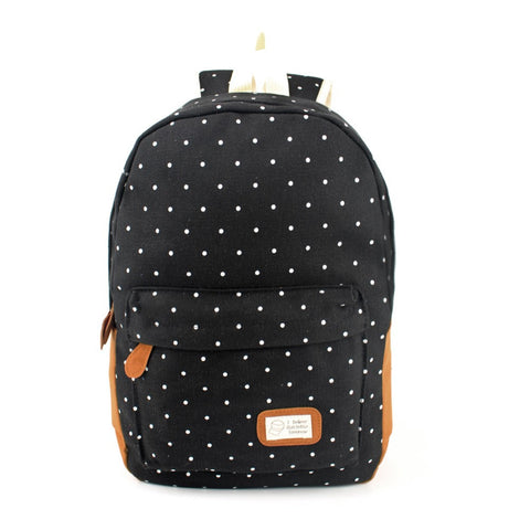Canvas Dot Print Backpack - East Gold