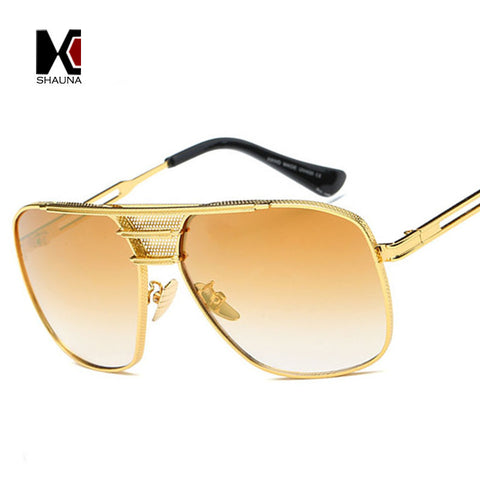 Fashion Women Square Sunglasses Brand Designer Men Golden Metal Frame Clear Lens Eyewear UV400 - East Gold