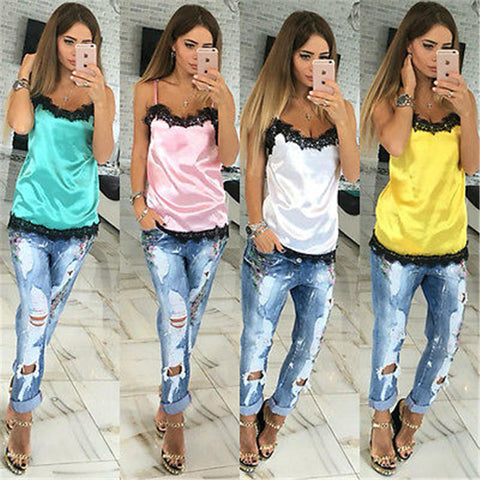 Casual Satin Sleeveless Vest Top - East Gold