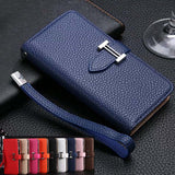 Luxury Business Women/Men Card Slot Wallet Holster PU Leather Case Cover For iPhone 5 6 6s Plus Phone Funda Bag - East Gold