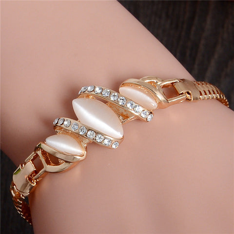 1pc Gold Plated Cat Eye Stone Unique Bracelet - East Gold