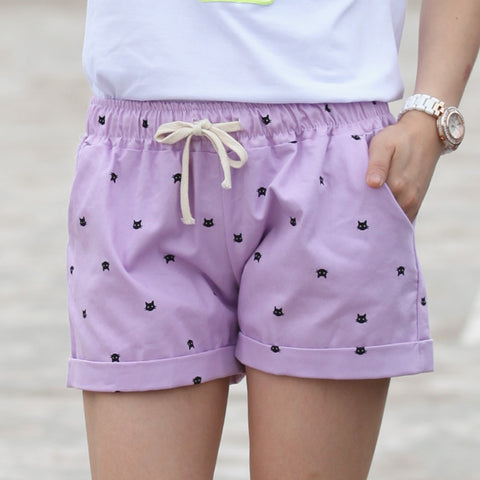 Dot Printed Casual Elastic Waist Draw String Loose shorts With Pockets - East Gold