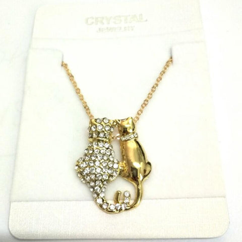 Rhinestones Couple lovers Cats Pendant  GP Necklace Sweater chain fashion jewelry - East Gold