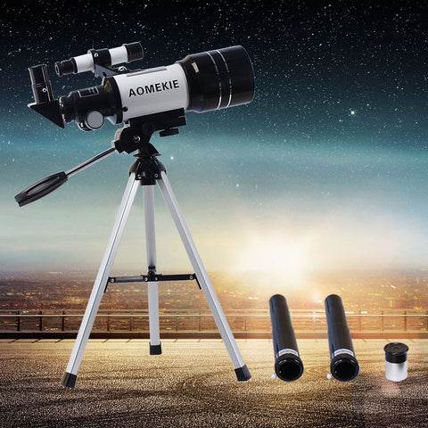 HD Astronomical Telescope Finderscope Protable Tripod Powerful Terrestrial Space Monocular Telescope Moon Watching Kids Gift Toy - East Gold