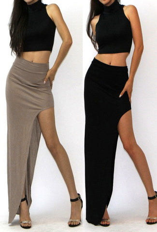 Charming Sexy Long Open Side Split Skirts - East Gold