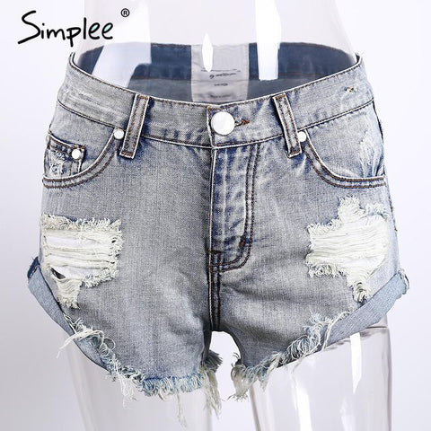 50's Vintage ripped hole fringe Casual Pocket Jeans shorts - East Gold
