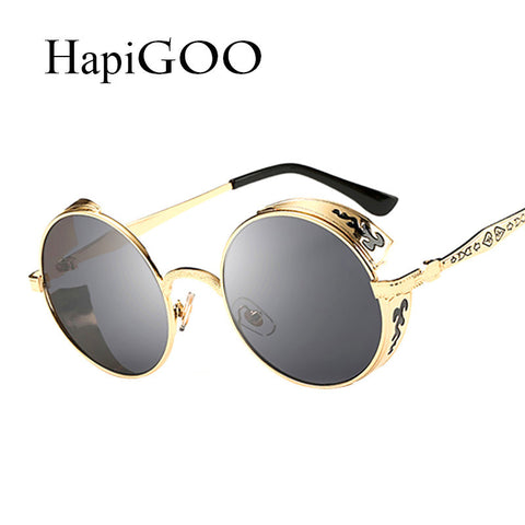 HapiGOO Vintage Gothic Round Sunglasses Men Steampunk Carving Flower Metal Frame Coating Mirrored Glasses Retro Male Sunglasses - East Gold