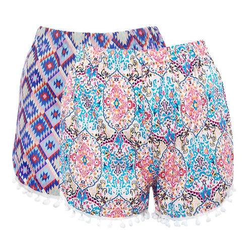 Bright Color Floral Summer Loose Shorts - East Gold