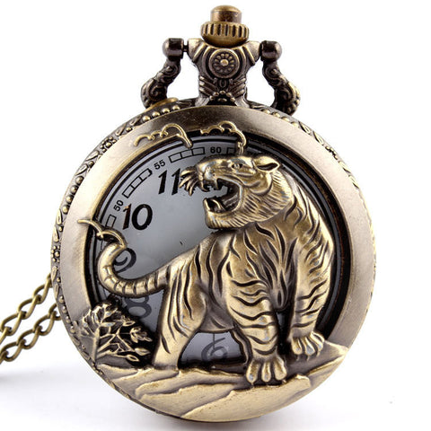 Bronze Tiger Hollow Quartz Pocket Watch Necklace Pendant  Chinese Zodiac 12 Carving Back - East Gold