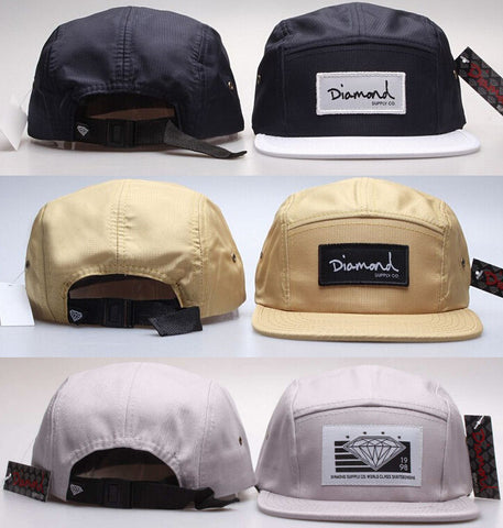 5 Panel Diamond Snapback Caps - East Gold