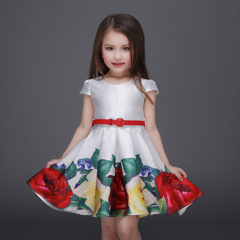 Floral Girls Dress - East Gold