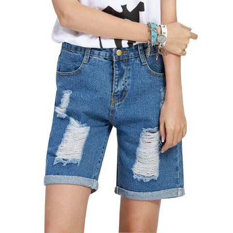 Curling Slim Hole High Waist Jeans Shorts - East Gold
