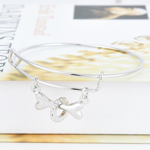 Dog Lover Pet Memorial Bangle - East Gold