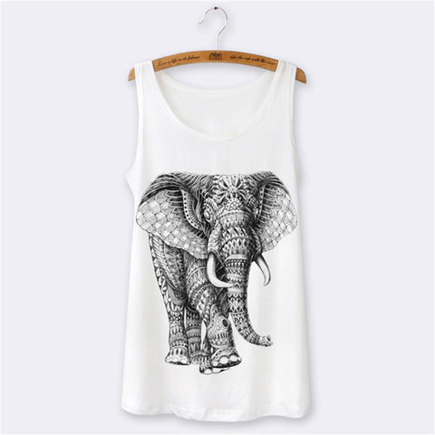 Animal Elephant Cartoon Print 3D O-neck Sleeveless Sexy Tops - East Gold