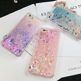 Love Heart Stars Glitter Stars Dynamic Liquid Quicksand Soft TPU Phone Back Cover Case For iPhones - East Gold