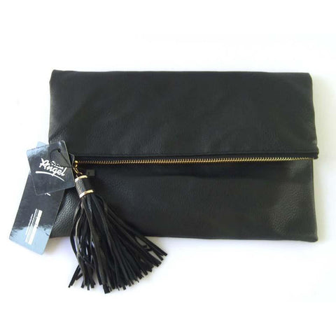 Tassel Messenger Fold Over Clutch Bag - East Gold
