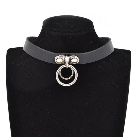 Gothic Punk Double Ring Pendant Snap Fastener PU Leather Choker - East Gold