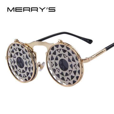 MERRY'S Steam Punk Gothic Vintage Clamshell Sunglasses Personality Clamshell Glasses Metal Punk Sun glasses - East Gold