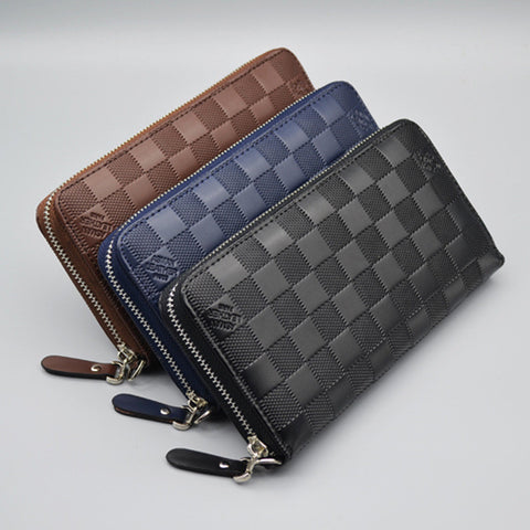 Leather  Stone Long | Phone Pocket Coin  Holders Zipper Male Wallets - East Gold