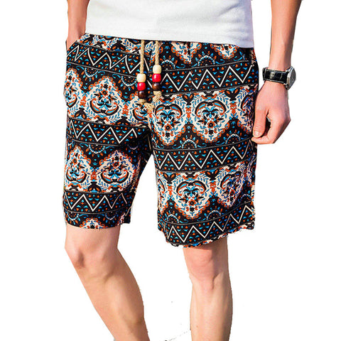 Ethnic Style Color Stitching Summer Beach Shorts - East Gold