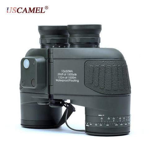 Military 10x50 HD Marine Binoculars Zoom Rangefinder Compass Telescope Eyepiece Waterproof Nitrogen Army Green USCAMEL - East Gold