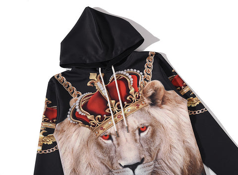 3D Lion Animal Long Sleeve Sweatshirts  Hoodies - East Gold