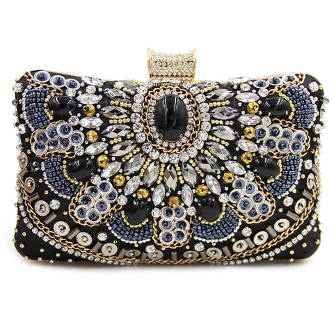 Diamond Day Beaded Bag With Chain - East Gold