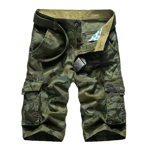 Camouflage Loose Cargo Shorts - East Gold