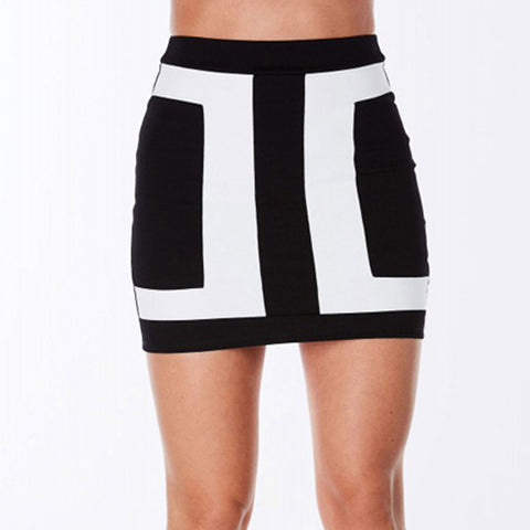 Black And White Patchwork Casual Short Skirt - East Gold