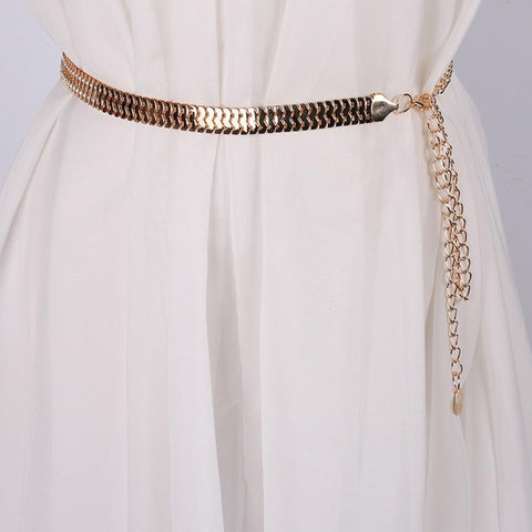 Fish Skin Pattern Metal Gold Chain Belt   East Gold