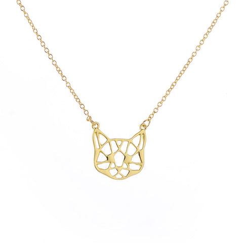 Cat face Necklace Cute Cat Necklace Geometric Cat Face Pendant  Animal jewelry For Pets lovers - East Gold