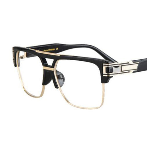 Big Square Semi-rimless Sunglasses - East Gold