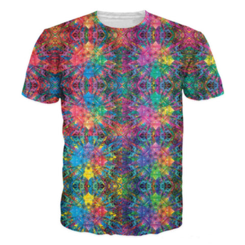 Colorful Geometric Patterns 3D Printing T-Shirts - East Gold