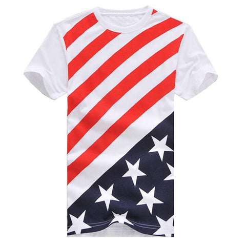Casual Short Sleeve USA Flag Printing T-shirts - East Gold
