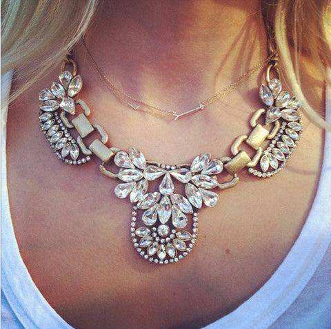 Crystal Collar Statement Necklaces   East Gold