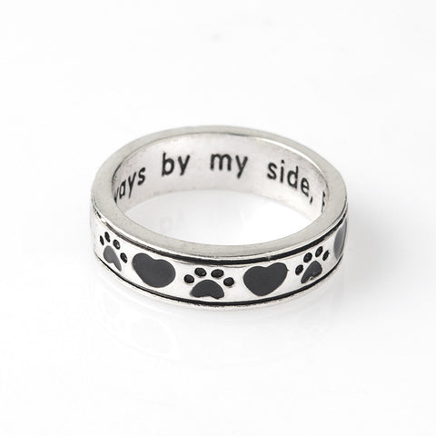 "Engraved ""Always by my side,Forever in my heart"" Dog Pawprint Wrap Ring Pet Memorial Dog Lover Gift - East Gold"