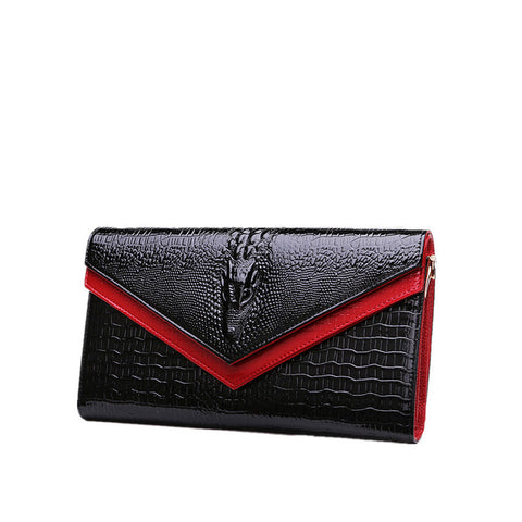 Crocodile Pattern Leather Clutch  Bag - East Gold