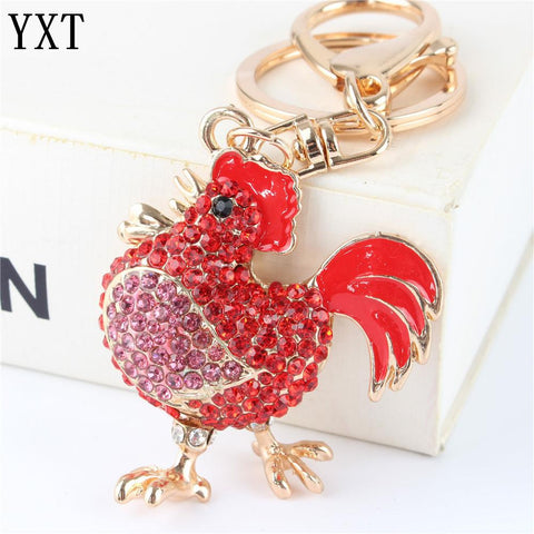 Red Cock Rooster Rhinestone Crystal Purse Key Ring - East Gold