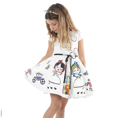 100% Cotton Cute Cartoon Print Dress - East Gold
